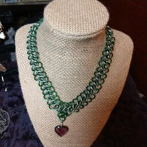 Amethyst Vines heart dangle chainmail necklace